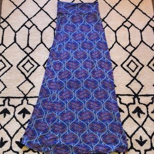 Blue and pink paisley maxi skirt
